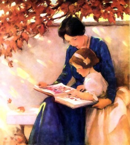 mother_reading_to_daughter_outdoors